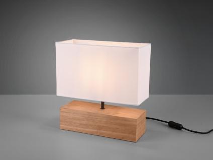 Kleine LED Tischleuchte 1 flammig Holzfuß & Stofflampenschirm in Weiß, Höhe 30cm