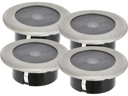 4er-Set Solar LED-Bodenspot Ø 11cm je Spot bis 100kg belastbar Einbaustrahler
