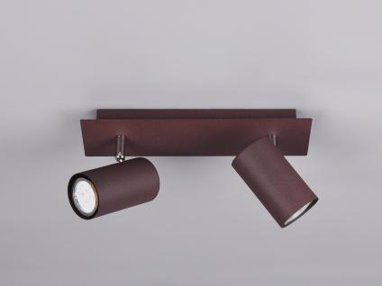 Moderne Bürolampe mit 2 schwenkbaren LED Deckenspots Wohnraumleuchte rostfarbig