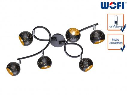 6-fl. LED Deckenleuchte Spots drehbar Schwarz/Gold, Wohnraumleuchte Dielenlampe