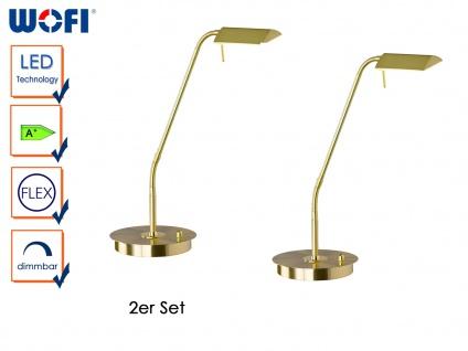 2er Set LED Schreibitschleuchte, dimmbar, flexibel, Messing, CORY, Tischlampen