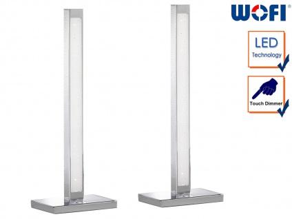 2er Set LED Tischleuchte 3-Stufen Dimmer Chrom H. 44cm Wohnraumleuchten Lampen