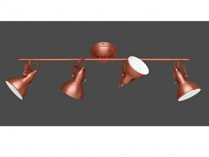 LED Deckenstrahler 4 flammig im Retro Look aus Metall in Kupfer dreh+ schwenkbar