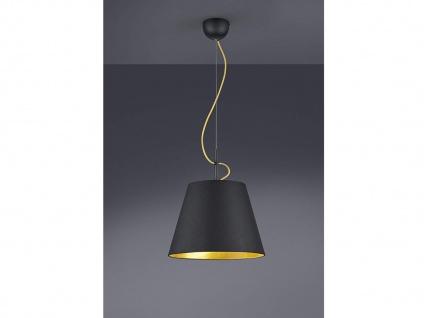 Pendelleuchte 1 flammig mit Stoff Lampenschirm in schwarz/gold Esstischlampe E27