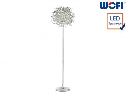 Design Stehleuchte Silber Höhe 166 cm LED Standlampe Wohnraumleuchte Wohnzimmer