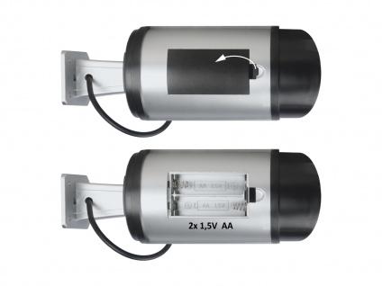 2er Set Kamera Attrappe IR-LED's Aluminium silber - Fake Dummy Innen & Außen - Vorschau 5