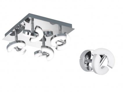 Wohnraumleuchtenset: 4flammige LED Deckenlampe + LED Wandspot Strahler in Chrom