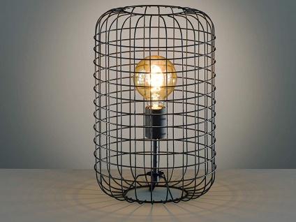 Vintage Tischlampe TITUS, Gitterlampe Lampenschirm schwarz 40cm im Industrielook