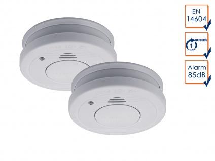2er-SET Rauchmelder mit Batteriewarnung & Testtaste - Zulassung nach EN14604