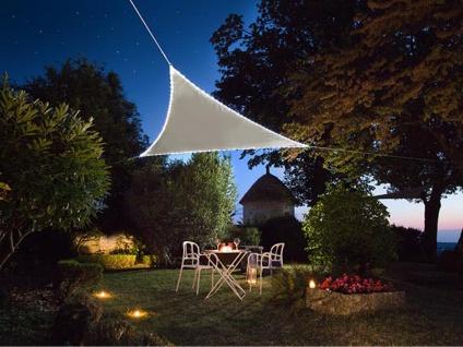 Sonnensegel mit 107 LEDs Dreieck Taupe 5, 6² - Terrassensegel für Balkon & Garten