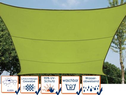 Sonnensegel Regenschutz Quadrat PEREL, Lime Grün, 360 x 360 cm, Wasserabweisend