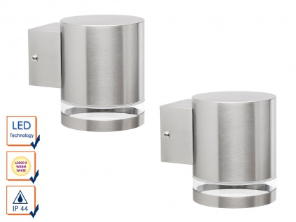 2er-SET Downlight Edelstahl Außenwandleuchten inkl. 3 Watt LED, 230 Lumen, IP44,