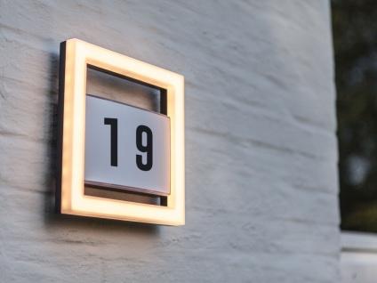 Hochwertige Edelstahl Hausnummernleuchte LED Lichtleiste für außen, eckige Lampe