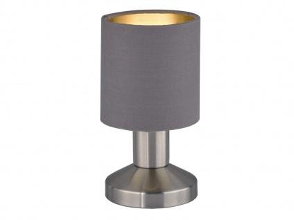 TOUCH Tischleuchte mit Stoffschirm in Braun Grau Designklassiker Nachttischlampe