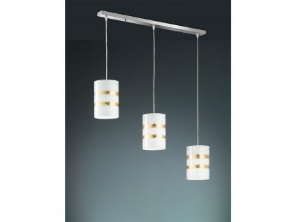 LED Hängelampe mit Glasschirm in weiß mit Streifen in goldfarben, SWITCH DIMMER