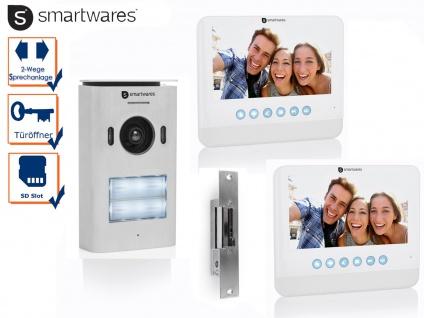 Set: 2 Familienhaus Video Gegensprechanlage mit Kamera + 7 Zoll LCD + Türöffner