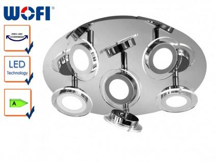 6-flg. LED-Deckenleuchte rund, Spots schwenkbar, Wofi-Leuchten
