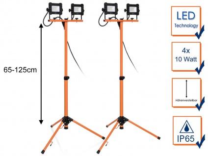 2Stk LED Baustrahler mit Stativ - Outdoor Arbeitsscheinwerfer Baustellenstrahler