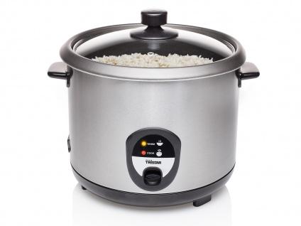 Edelstahl Reiskocher groß 2, 2 Liter mit Warmhaltefunktion, Kocher für Sushi Reis