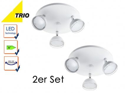 2er Set Trio LED Rondell Deckenstrahler BOLOU weiß, Rondell Deckenleuchte Retro