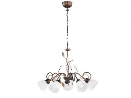 5 flammige Krone mit Glasschirmen - Wohnraumlüster aus Metall Antik Rost Blätter