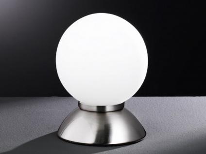 Kugel Tischleuchte PLUTO Nickel matt Glas opal weiß Action by Wofi