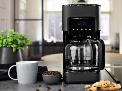 Edle Edelstahl Kaffeemaschine Schwarz mit Timer - Desing Filterkaffeemaschine