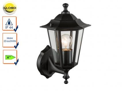 Globo Wandleuchte / Außenleuchte Laterne Schwarz mit LED, Fassadenbeleuchtung