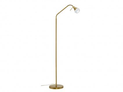 Innenlampe zum Aufstellen Metall altmessing & Glas weiß, flexibel, Fußschalter
