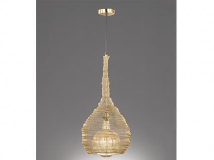 Design Pendelleuchte mit LED Lampenschirm goldfarbig 35cm, moderne Esstischlampe