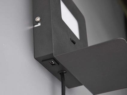 LED Wandleuchte Schwarz USB Anschluss & Ablage Nachttisch Wandlampen fürs Bett - Vorschau 5
