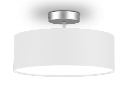 Deckenleuchte mit Stoff Lampenschirm Weiß 30cm - Textil Deckenlampe Stoffschirm