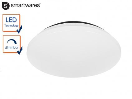 Flache runde Deckenleuchte aus weißem Kunststoff dimmbar 12W LED Deckenschale