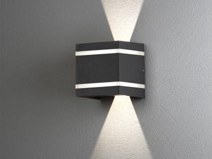 Moderne LED Außenwandlampe Würfel aus ALU in dunkelgrau, up and down Höhe 11cm