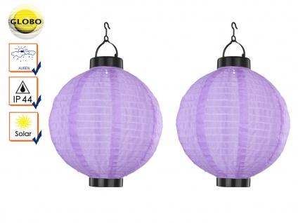 2er Set LED Solarleuchten Lampion violett 25, 5cm, Beleuchtung Garten Terrasse