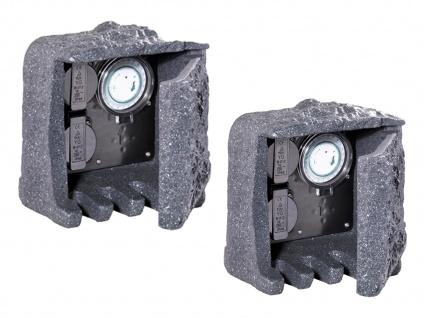 Außensteckdosen Steinoptik 2 fach mit Zeitschaltuhr 2er Set Gartensteckdosen - Vorschau 2
