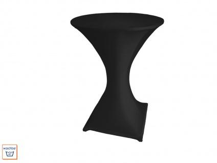 Robuster STEHTISCH klappbar Ø80cm weiß mit Stretch-Husse schwarz, Klapp Tisch