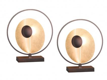 2er Set Design LED Nachttischleuchte 25W Antik-Braun/Gold Höhe 46cm Dekoleuchten