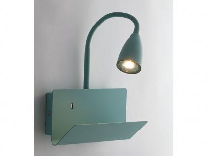 Flexible USB LED Leselampe Grün, Wandleuchte mit Schalter, Ablage & Ladefunktion