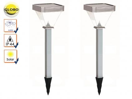 2er Set LED Solarleuchten mit Erdspieß, Gartenleuchten Solar Erdspießleuchten