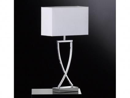 Große LED Tischleuchte & Hockerlampe - Metall Chrom mit Lampenschirm Stoff Weiß