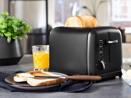 Kompakter Design Toaster Edelstahl Schwarz matt Aufwärm- & Auftaufunktion 950W
