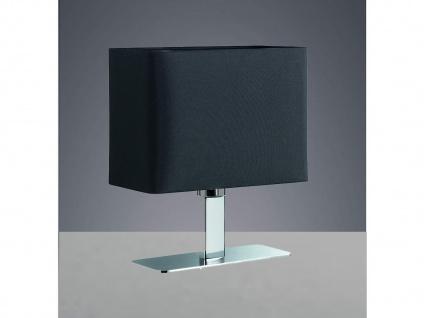 Tischleuchte in Chrom mit eckigem Stofflampenschirm in Schwarz, Wohnraumleuchte - Vorschau 3