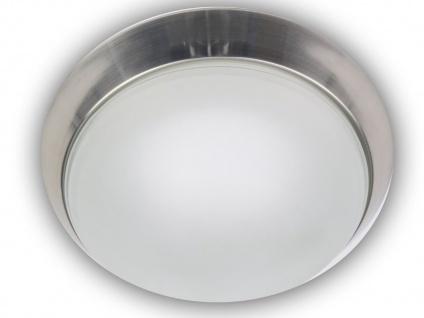 Deckenleuchte, Glas satiniert, Dekorring Nickel matt, Ø 30cm, Niermann