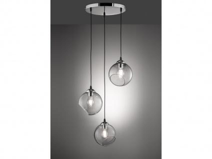 Designer LED Pendelleuchte Lampenschirme Kugelform Ø35m aus Rauchglas 3 flammig