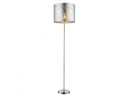 Design LED Stehlampe AMY I große Stoffschirm silber 40cm moderne Wohnzimmerlampe