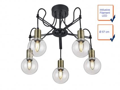 LED Deckenlampe höhenverstellbar bis 45cm in schwarz matt/bronze, Ø 57cm, E14 - Vorschau 3