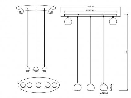 Grosse LED Hängeleuchte bis 150cm höhenverstellbar, 2 dreh+schwenkbare Spots - Vorschau 5