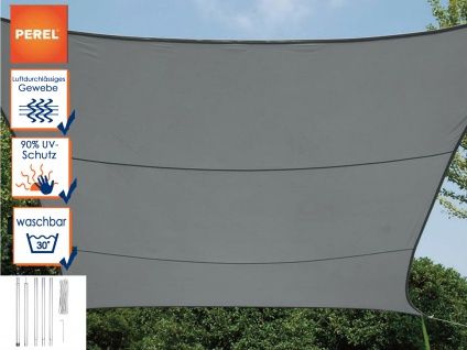 Sonnensegel Viereck Dunkelgrau 5m mit Stangenset für den Garten - Vorschau 1