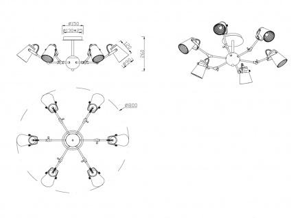 Coole Deckenlampe für Wohnzimmer aus Metall in schwarz mit 6 verstellbaren Spots - Vorschau 4